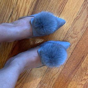 Shoes - Rabbit fur flats😍
